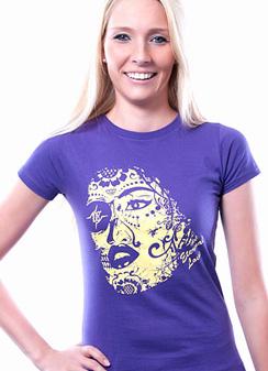Damen Slim Fit T-Shirt Eternal Love lila