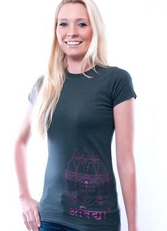 Damen Slim Fit T-Shirt Asian Sculpture grau