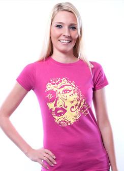 Damen Slim Fit T-Shirt Eternal Love Himbeere