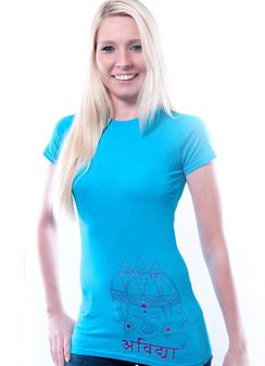 Damen Slim Fit T-Shirt Asian Sculpture aqua