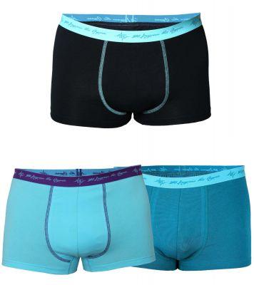 Herren Retro Pants Mix petrol / schwarz mint / aqua 3er Pack