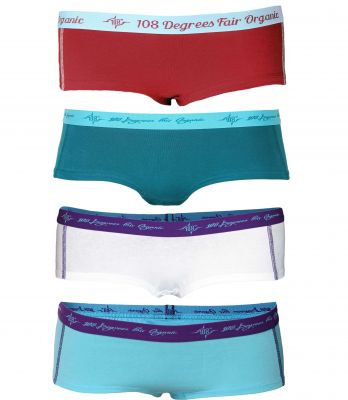 Damen Hot Pants petrol / chili / aqua / white 4er Pack