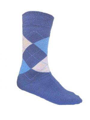Herren Socken blau kariert 4er Pack GOTS