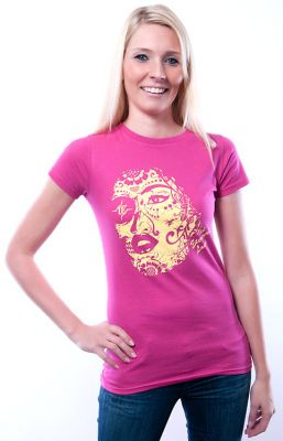 Damen Slim Fit T-Shirt Eternal Love himbeere