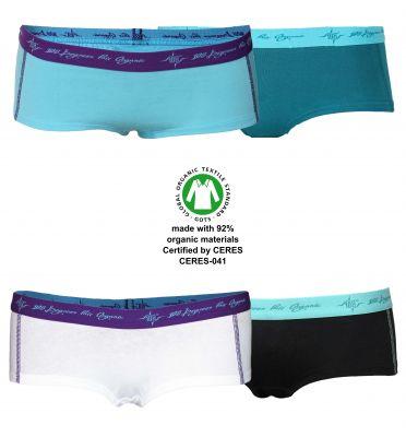Damen Hot Pants petrol / schwarz mint / aqua / white 4er Pack